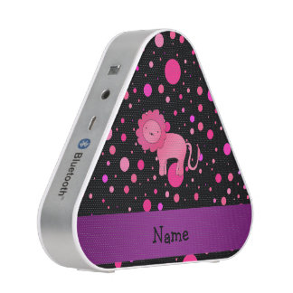 Personalized name pink lion pink polka dots speaker