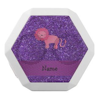 Personalized name pink lion purple glitter white boombot rex bluetooth speaker