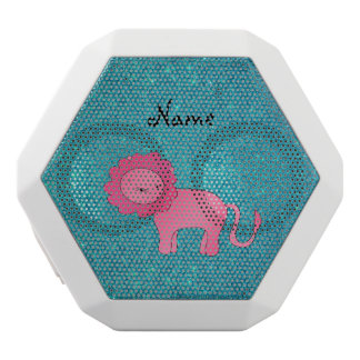 Personalized name pink lion turquoise glitter white boombot rex bluetooth speaker
