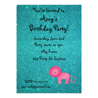Personalized name pink lion turquoise glitter announcement