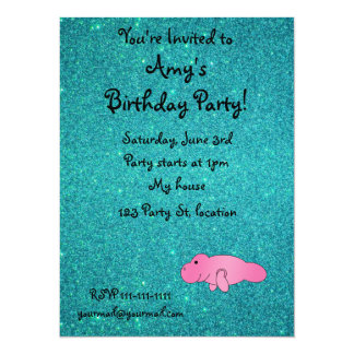 """Personalized name pink manatee turquoise glitter 5.5"""" x 7.5"""" invitation card"""