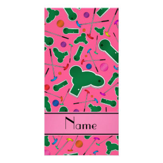 Personalized name pink mini golf photo card