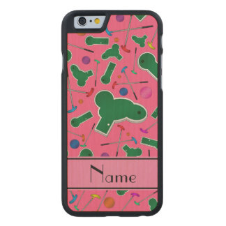 Personalized name pink mini golf carved® maple iPhone 6 case