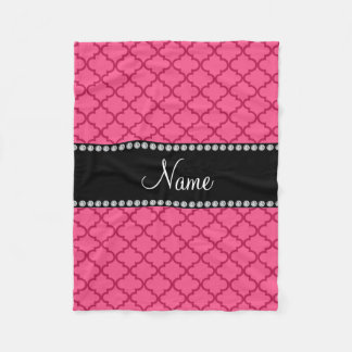 Personalized name Pink moroccan Fleece Blanket