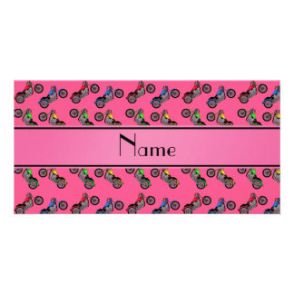 Personalized name pink motorcycles photo card template
