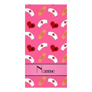 Personalized name pink nurse pattern photo card template