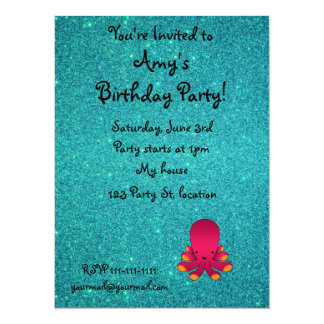 "Personalized name pink octopus turquoise glitter 5.5"" x 7.5"" invitation card"