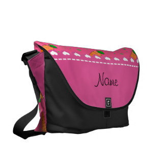 Personalized name pink orange carrots commuter bags