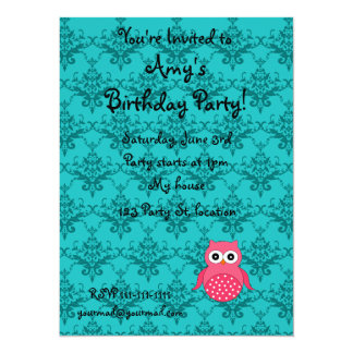 "Personalized name pink owl turquoise damask 5.5"" x 7.5"" invitation card"