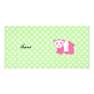 Personalized name pink panda green polka dots picture card