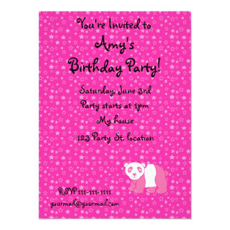 Personalized name pink panda pink stars 14 cm x 19 cm invitation card