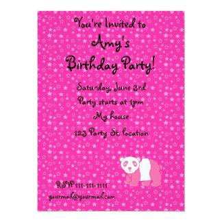 Personalized name pink panda pink stars invitation
