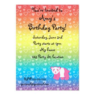 "Personalized name pink panda rainbow hearts 5.5"" x 7.5"" invitation card"