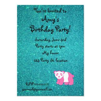 Personalized name pink panda turquoise glitter 14 cm x 19 cm invitation card