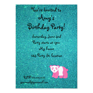"Personalized name pink panda turquoise glitter 5.5"" x 7.5"" invitation card"