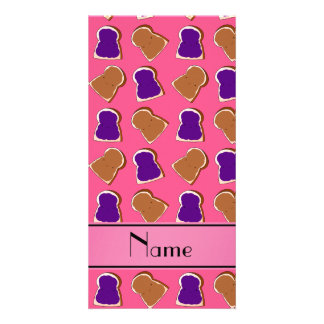 Personalized name pink peanut butter jelly photo greeting card