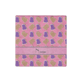 Personalized name pink peanut butter jelly stone magnet