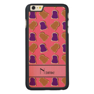 Personalized name pink peanut butter jelly carved® maple iPhone 6 plus case