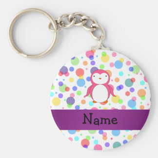 Personalized name pink penguin rainbow polka dots basic round button key ring
