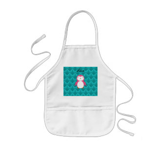Personalized name pink penguin turquoise damask kids apron