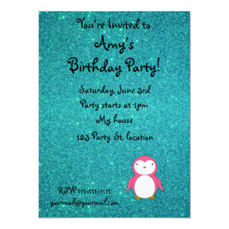 """Personalized name pink penguin turquoise glitter 5.5"""" x 7.5"""" invitation card"""