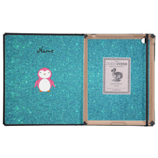 Personalized name pink penguin turquoise glitter iPad cases