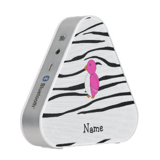 Personalized name pink penguin zebra stripes bluetooth speaker