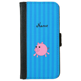 Personalized name pink pig blue stripes iPhone 6 wallet case