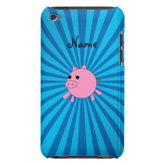 Personalized name pink pig blue sunburst barely there iPod cases