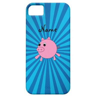 Personalized name pink pig blue sunburst case for the iPhone 5