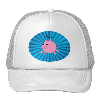 Personalized name pink pig blue sunburst hats