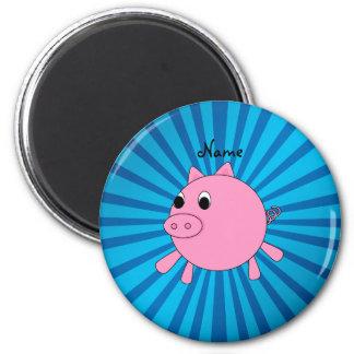 Personalized name pink pig blue sunburst refrigerator magnet