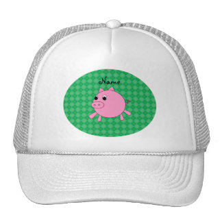 Personalized name pink pig green argyle trucker hats
