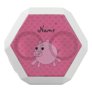 Personalized name pink pig hearts white boombot rex bluetooth speaker