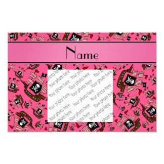 Personalized name pink pirate ships photographic print