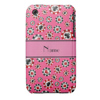 Personalized name pink poker chips Case-Mate iPhone 3 case