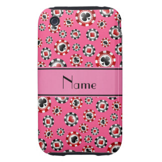 Personalized name pink poker chips tough iPhone 3 case