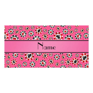 Personalized name pink poker chips customised photo card