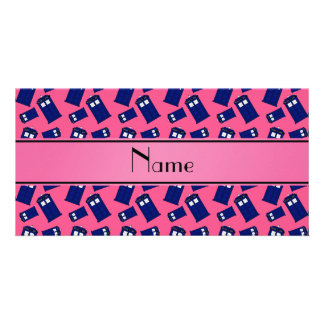 Personalized name pink police box custom photo card