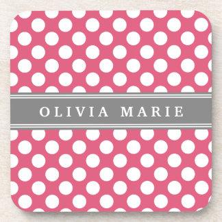 Personalized Name Pink Polka Dots Pattern Beverage Coaster