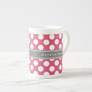 Personalized Name Pink Polka Dots Pattern Tea Cup