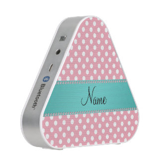 Personalized name pink polka dots turquoise stripe