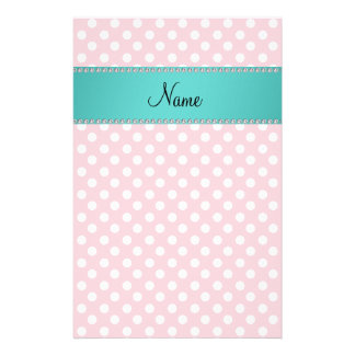 Personalized name pink polka dots turquoise stripe personalized stationery