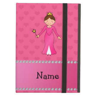 Personalized name pink princess pink hearts iPad folio cases