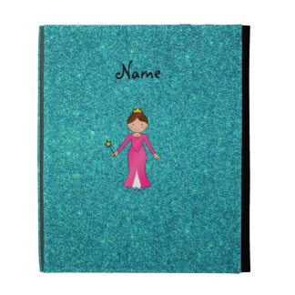 Personalized name pink princess turquoise glitter iPad case