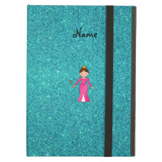 Personalized name pink princess turquoise glitter iPad air case