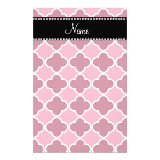 Personalized name pink quatrefoil pattern stationery design