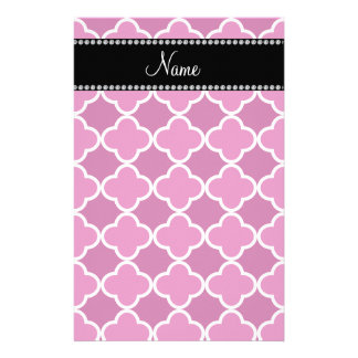 Personalized name pink quatrefoil pattern custom stationery