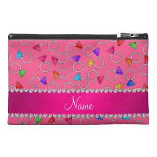 Personalized name pink rainbow diamond ring travel accessory bag