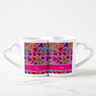Personalized name pink rainbow leopard dresses couples mug